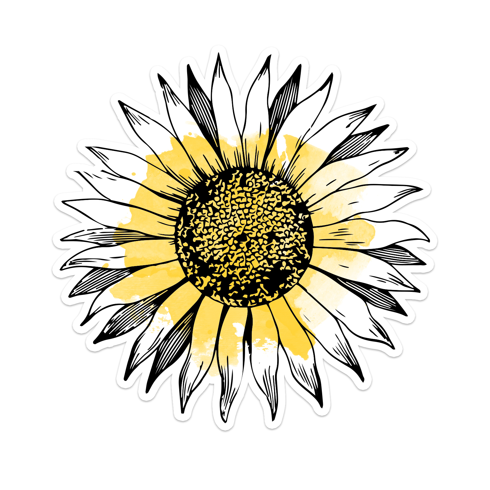 Watercolor Sunflower Laptop Trackpad Sticker 3 Quot Tall X 3 Quot Wide
