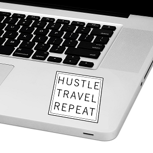 Hustle Travel Repeat Laptop Trackpad Sticker 3