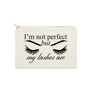 I'm Not Perfect But My Lashes Are 12 oz Cosmetic Makeup Cotton Canvas Bag