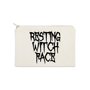 Resting Witch Face 12 oz Cosmetic Makeup Cotton Canvas Bag