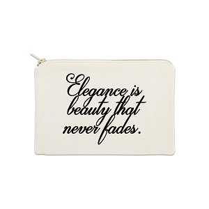 Elegance Is Beauty That Never Fades 12 oz Cosmetic Makeup Cotton Canvas Bag