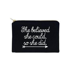 She Believed She Could So She Did 12 oz Cosmetic Makeup Cotton Canvas Bag