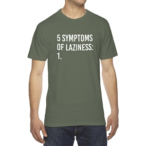 5 Symptoms Of Laziness Funny Parody Men's Crew Neck Cotton T-Shirt