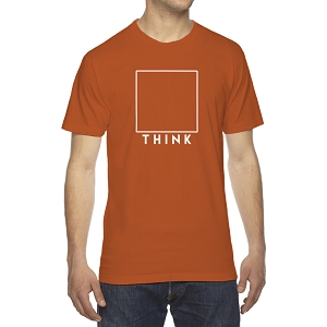 THINK Square Box Outside Men's Crew Neck Cotton T-Shirt