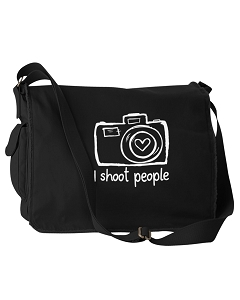 Funny I Shoot People Camera Photographer Black Canvas Messenger Bag
