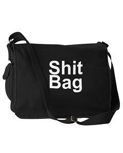 Funny Sh*t Bag Junk Tote Black Canvas Messenger Bag