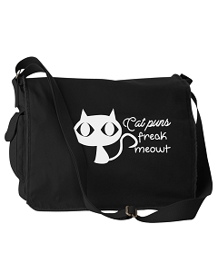 Funny Cat Puns Freak Meowt Pun Black Canvas Messenger Bag