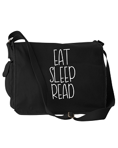Funny Eat Sleep Read Books Black Canvas Messenger Bag