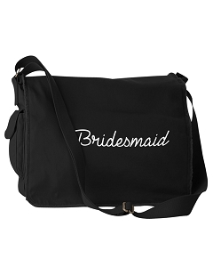 Bride Bridesmaids Wedding Gifts Black Canvas Messenger Bag