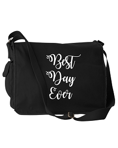 Funny Best Day Ever Wedding Bridesmaids Gifts Black Canvas Messenger Bag
