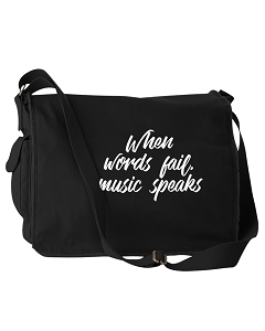 Funny When Words Fail, Music Speaks Quote Black Canvas Messenger Bag
