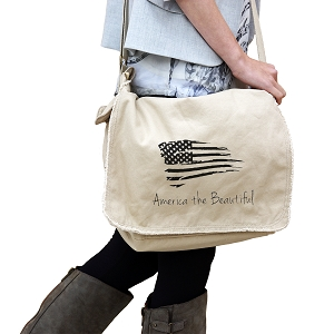 Patriotic America the Beautiful USA Flag 14 oz. Authentic Pigment-Dyed Raw-Edge Messenger Bag Tote