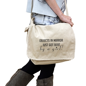JDM Objects in Mirror Got Beat By a Girl 14 oz. Authentic Pigment-Dyed Raw-Edge Messenger Bag Tote