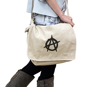 Anarchy Symbol Outline 14 oz. Authentic Pigment-Dyed Raw-Edge Messenger Bag Tote