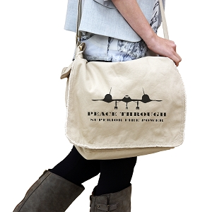 Peace Through Superior Firepower Patriotic 14 oz. Authentic Pigment-Dyed Raw-Edge Messenger Bag Tote