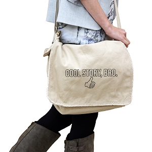 Funny Thumbs Up Cool Story Bro 14 oz. Authentic Pigment-Dyed Raw-Edge Messenger Bag Tote