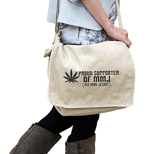 Proud Supporter of MMJ Pot Jesus Funny 14 oz. Authentic Pigment-Dyed Raw-Edge Messenger Bag Tote