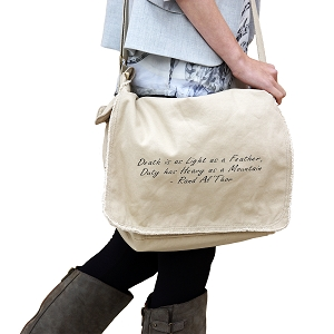 Death is Light as a Feather Quote 14 oz. Authentic Pigment-Dyed Raw-Edge Messenger Bag Tote