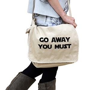Funny Yoda Parody Go Away You Must 14 oz. Authentic Pigment-Dyed Raw-Edge Messenger Bag Tote