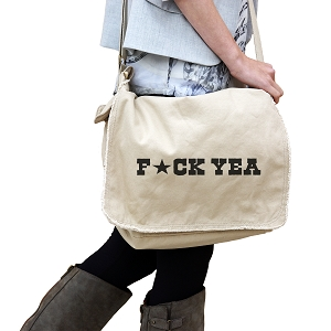 Funny F*ck Yeah Star 14 oz. Authentic Pigment-Dyed Raw-Edge Messenger Bag Tote