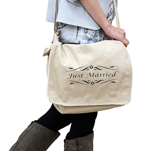 Just Married Bride Groom Wedding 14 oz. Authentic Pigment-Dyed Raw-Edge Messenger Bag Tote