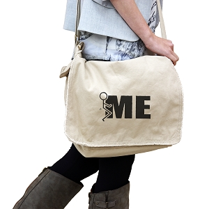 Funny Humping Stick Figure F*ck Me 14 oz. Authentic Pigment-Dyed Raw-Edge Messenger Bag Tote