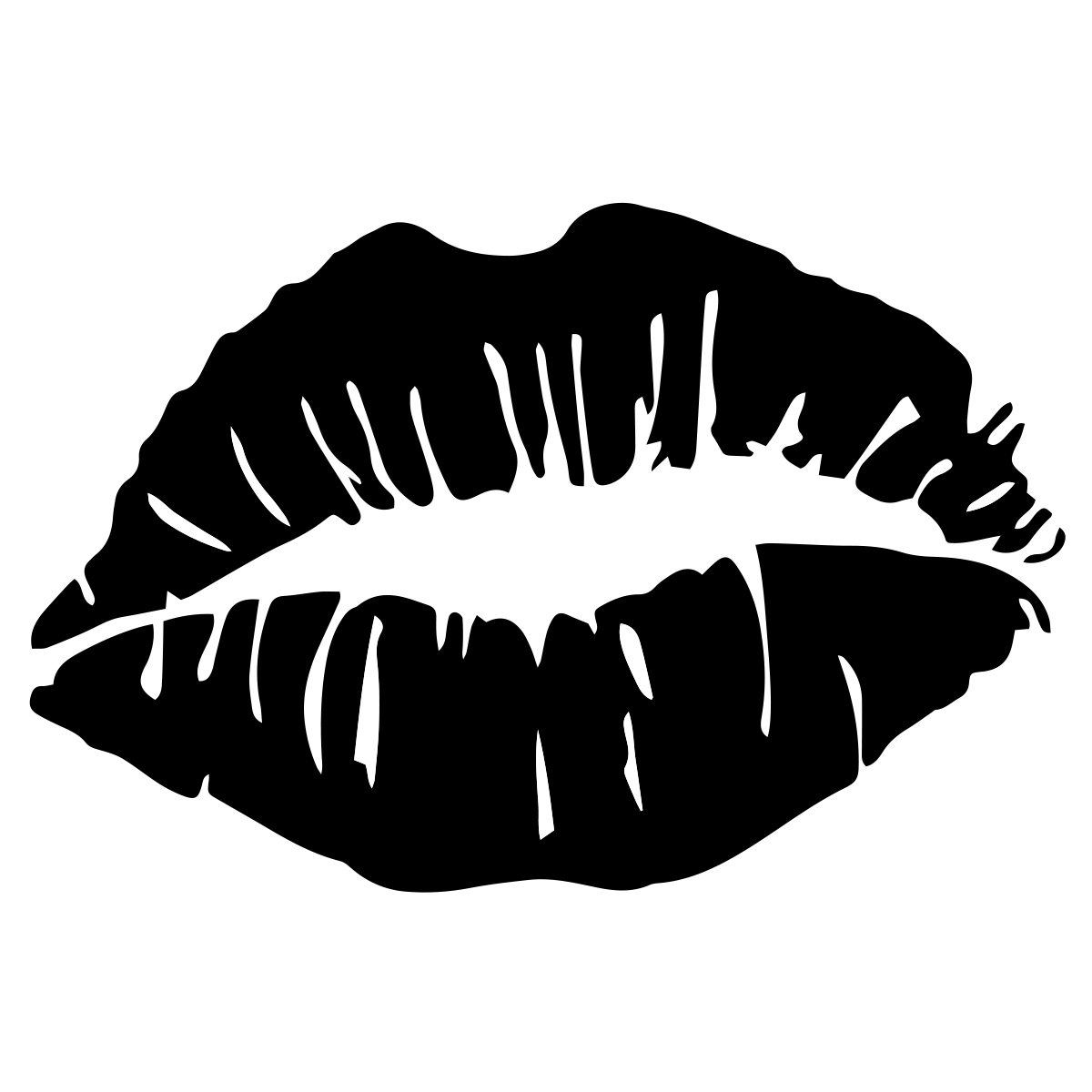 Kiss Lips Outline Auto Car Racing Motorcycle Helmet Decal