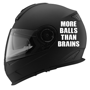 More Balls Than Brains Auto Car Racing Motorcycle Helmet Decal