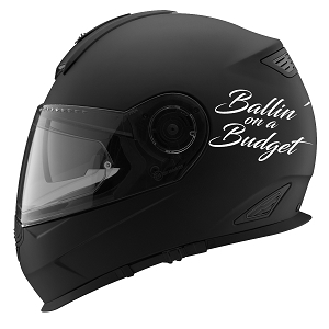 Ballin' On A Budget Auto Car Racing Motorcycle Helmet Decal