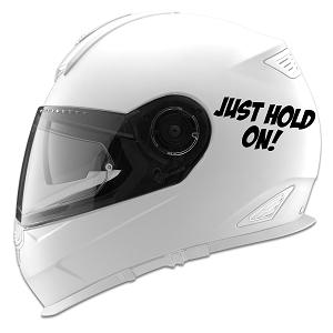 Just Hold On! Auto Car Racing Motorcycle Helmet Decal