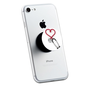 Stethoscope Heart Nurse 2 Sticker Set for Pop Grip Stent for Phones and Tablets (Stickers Only)