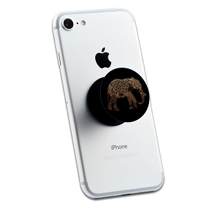 Copper Metallic Mandala Elephant 2 Sticker Set for Pop Grip Stent for Phones and Tablets (Stickers Only)