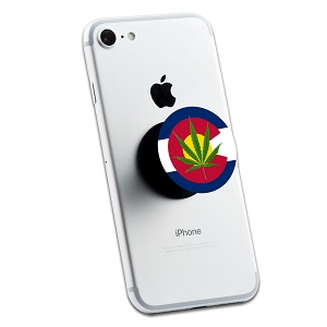 Colorado Flag Pot Leaf 2 Sticker Set for Pop Grip Stent for Phones and Tablets (Stickers Only)