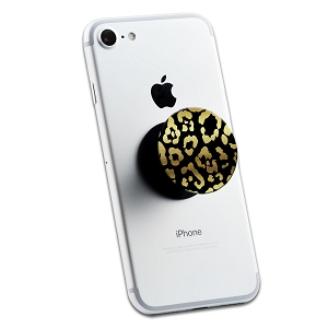 Black Gold Leopard Print Glitter 2 Sticker Set for Pop Grip Stent for Phones and Tablets (Stickers Only)