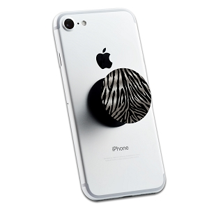 Silver Glitter Zebra Print 2 Sticker Set for Pop Grip Stent for Phones and Tablets (Stickers Only)