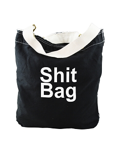 Funny Sh*t Bag Junk Tote Black Canvas Slouch Tote Bag
