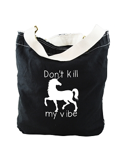 Funny Don't Kill My Vibe Unicorn Black Canvas Slouch Tote Bag