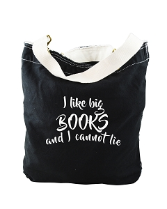 Funny I Like Big Books And I Cannot Lie Parody Black Canvas Slouch Tote Bag