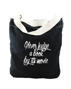 Funny Never Judge A Book By Its Movie Black Canvas Slouch Tote Bag