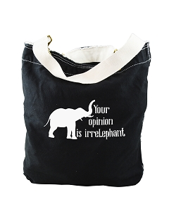 Funny Your Opinion Is Irrelephant Elephant Pun Black Canvas Slouch Tote Bag