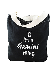 Funny It's A Gemini Thing Zodiac Sign Black Canvas Slouch Tote Bag