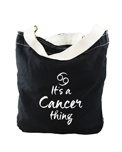 Funny It's A Cancer Thing Zodiac Sign Black Canvas Slouch Tote Bag