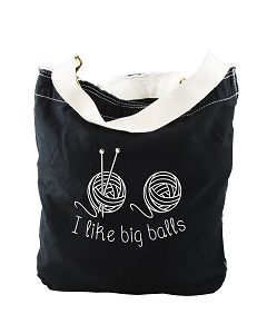 Funny I Like Big Balls Yarn Knitting Black Canvas Slouch Tote Bag