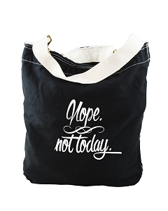 Funny Nope Not Today Adulting Black Canvas Slouch Tote Bag