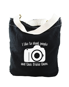 Funny I Like To Shoot People And The Frame Them Photographer Black Canvas Slouch Tote Bag