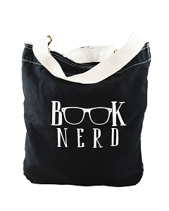 Funny Book Nerd Glasses Black Canvas Slouch Tote Bag