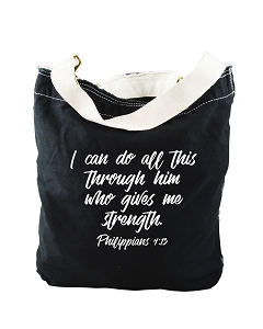 I Can Do All This Through Him Philippians 4:13 Bible Quote Phrase Black Canvas Slouch Tote Bag
