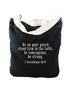 Be On Your Guard, Stand Firm In The Faith 1 Corinthians 16:13 Bible Quote Phrase Black Canvas Slouch Tote Bag