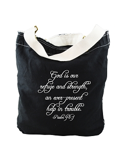 God Is Our Refuge And Strength Script Psalm 46:1 Bible Quote Phrase Black Canvas Slouch Tote Bag