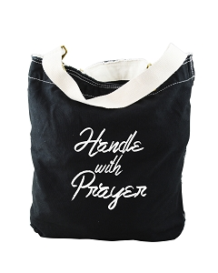 Handle With Prayer Religious Black Canvas Slouch Tote Bag